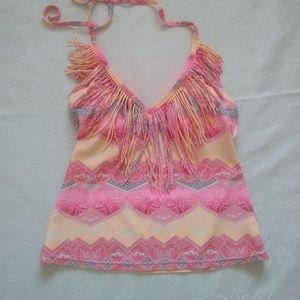 Jessica Simpson fringe halter top pink motif